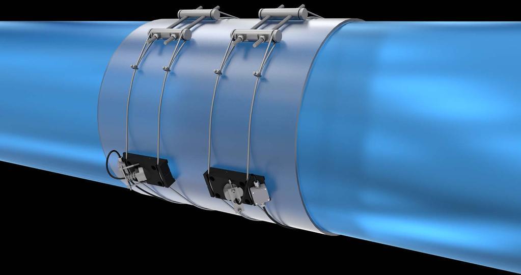 شماتیکی از طراحی اولیه دبی سنج آنلاین لوله های بزرگ آبرسانی با دو جفت سنسور کلمپ آن